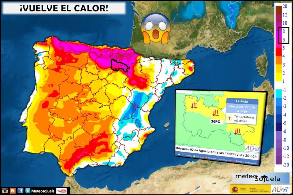 mapa temperaturas calor aviso larioja tiempo josecalvo meteosojuela meteo