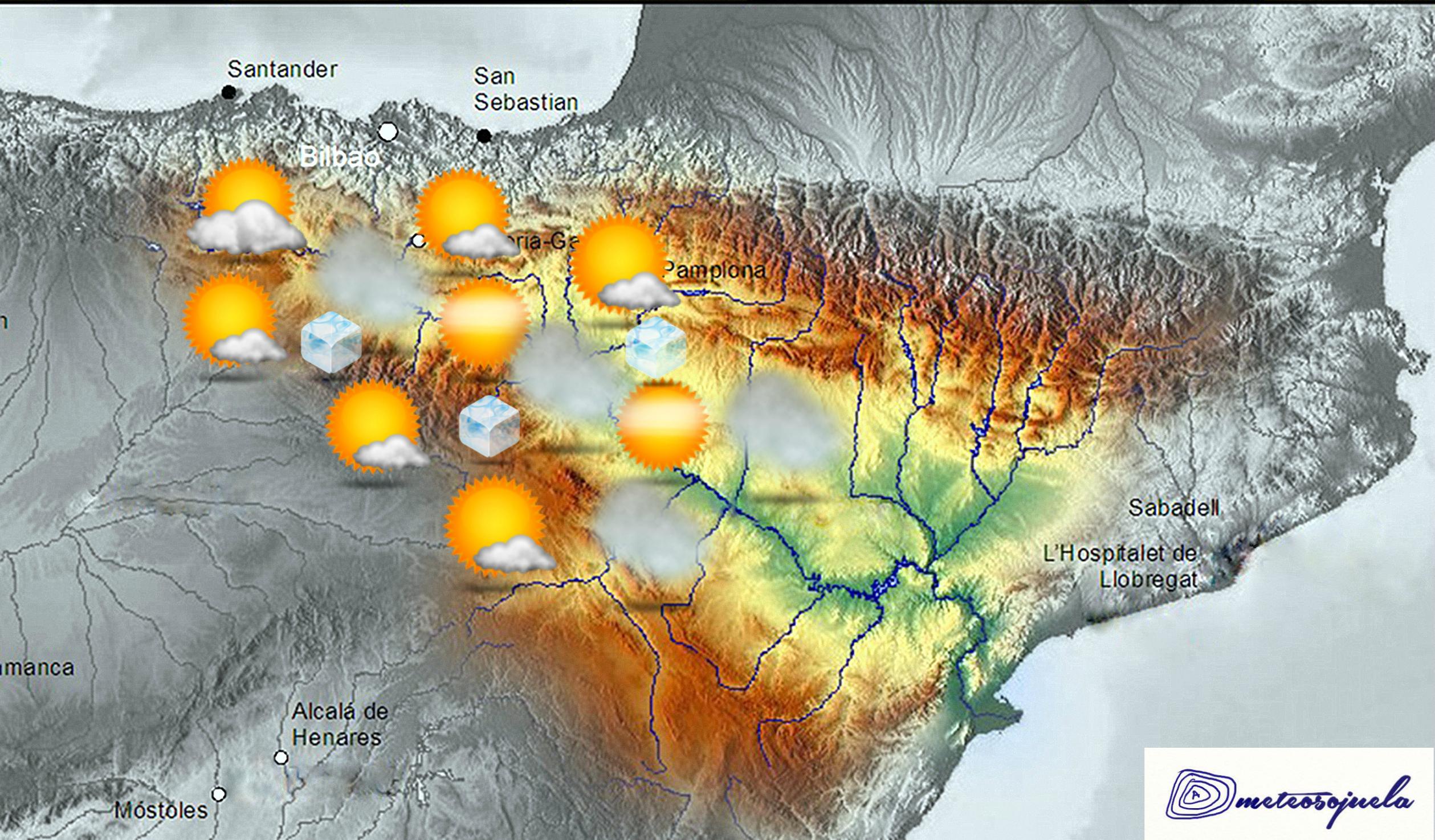 Mapa Significativo Valle del Ebro. anticilónico. Meteosojuela La Rioja