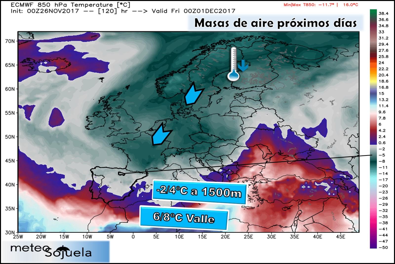 frio, masa ,masa aire,850,850hPa,tiempo.larioja,josecalvo,meteosojuela
