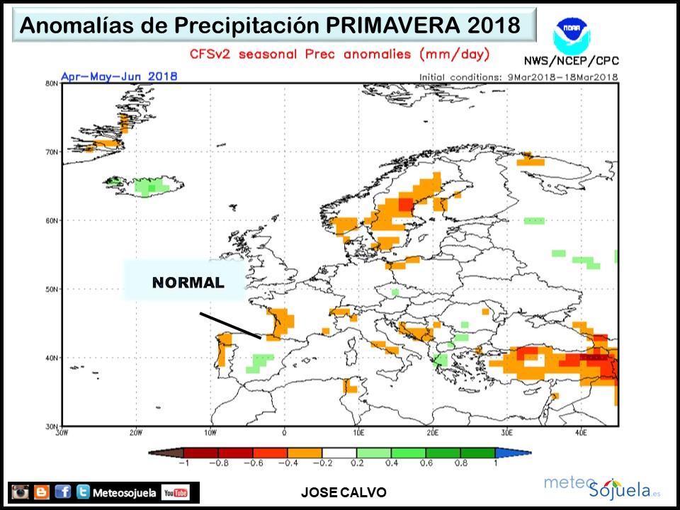 Anomalías Precipitación Primavera. Meteosojuela