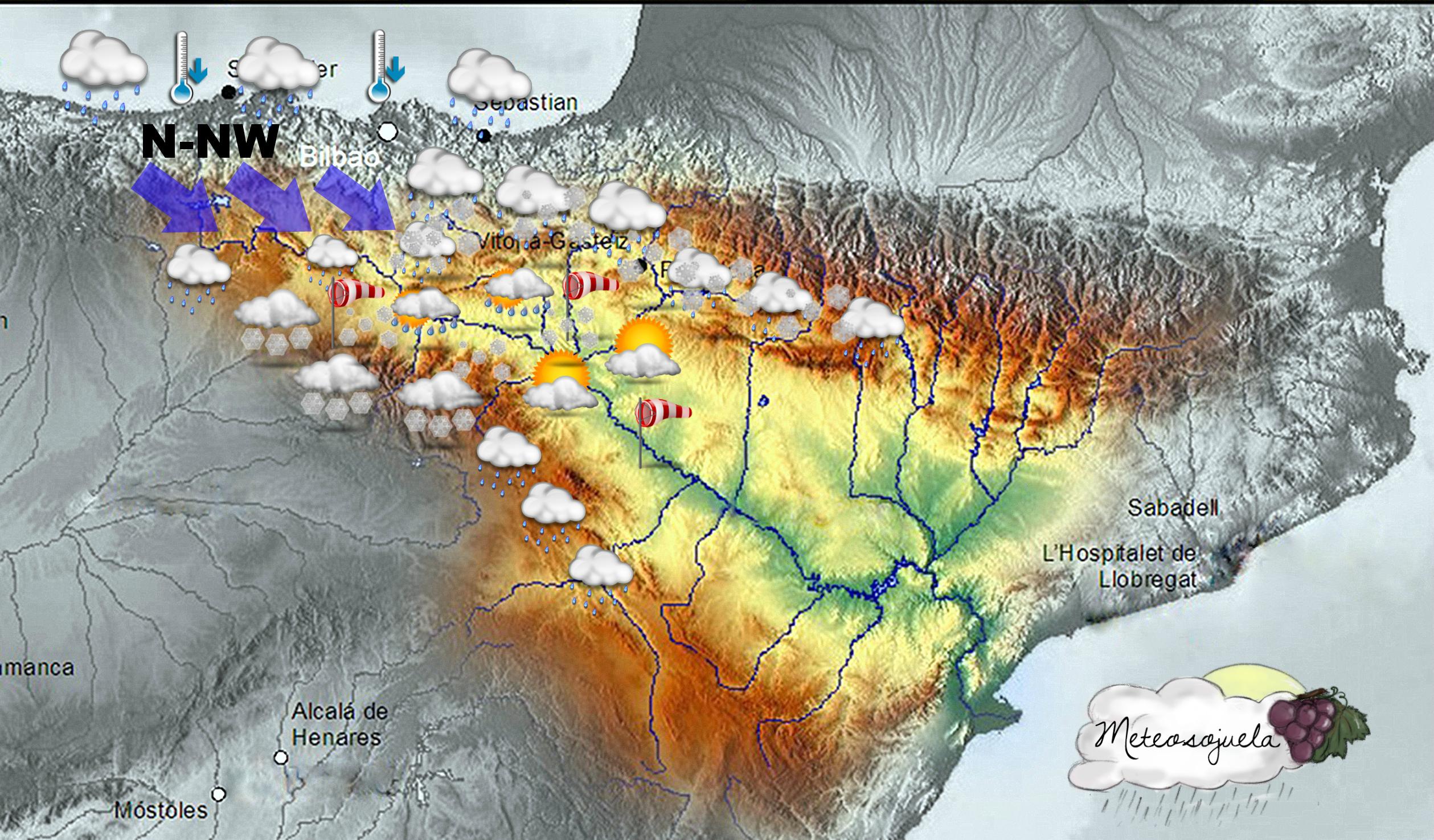Mapa Significativo Valle del Ebro. NW. Meteososjuela La Rioja
