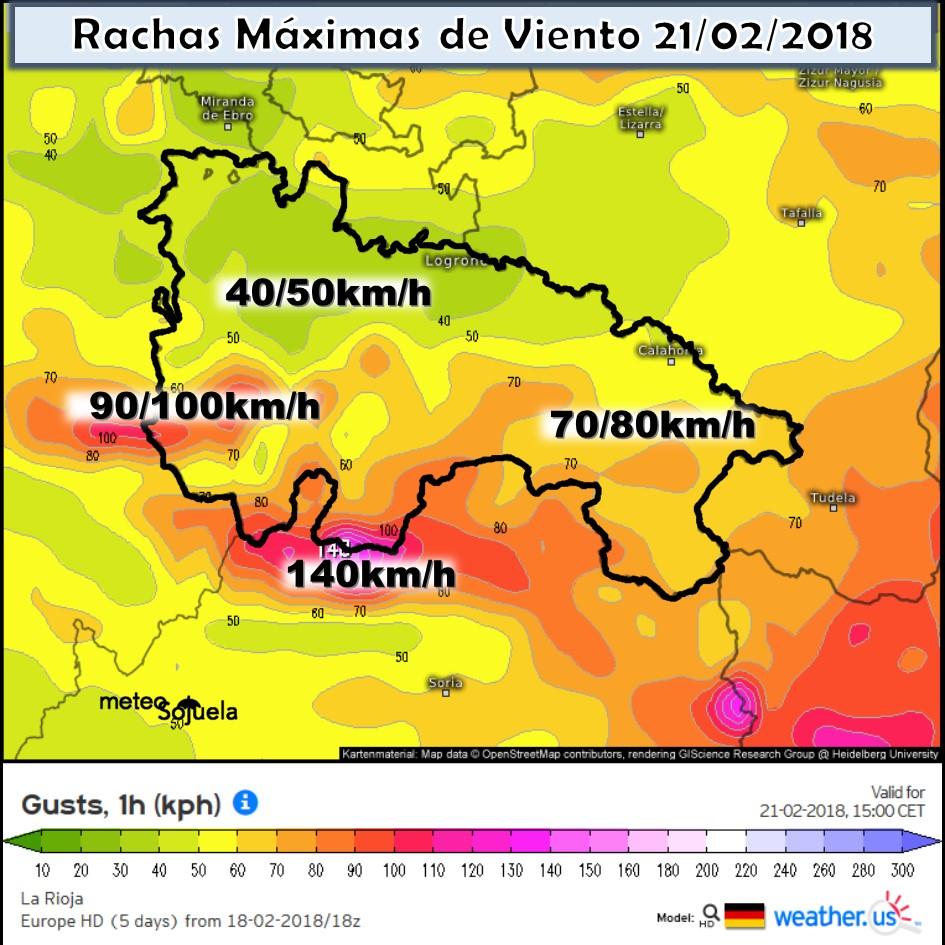 Rachas maximas de viento La Rioja.Meteosojuela