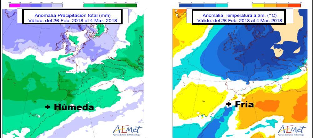 Anomalías de precipitacion y temperatura. AEMET. Meteosojuela