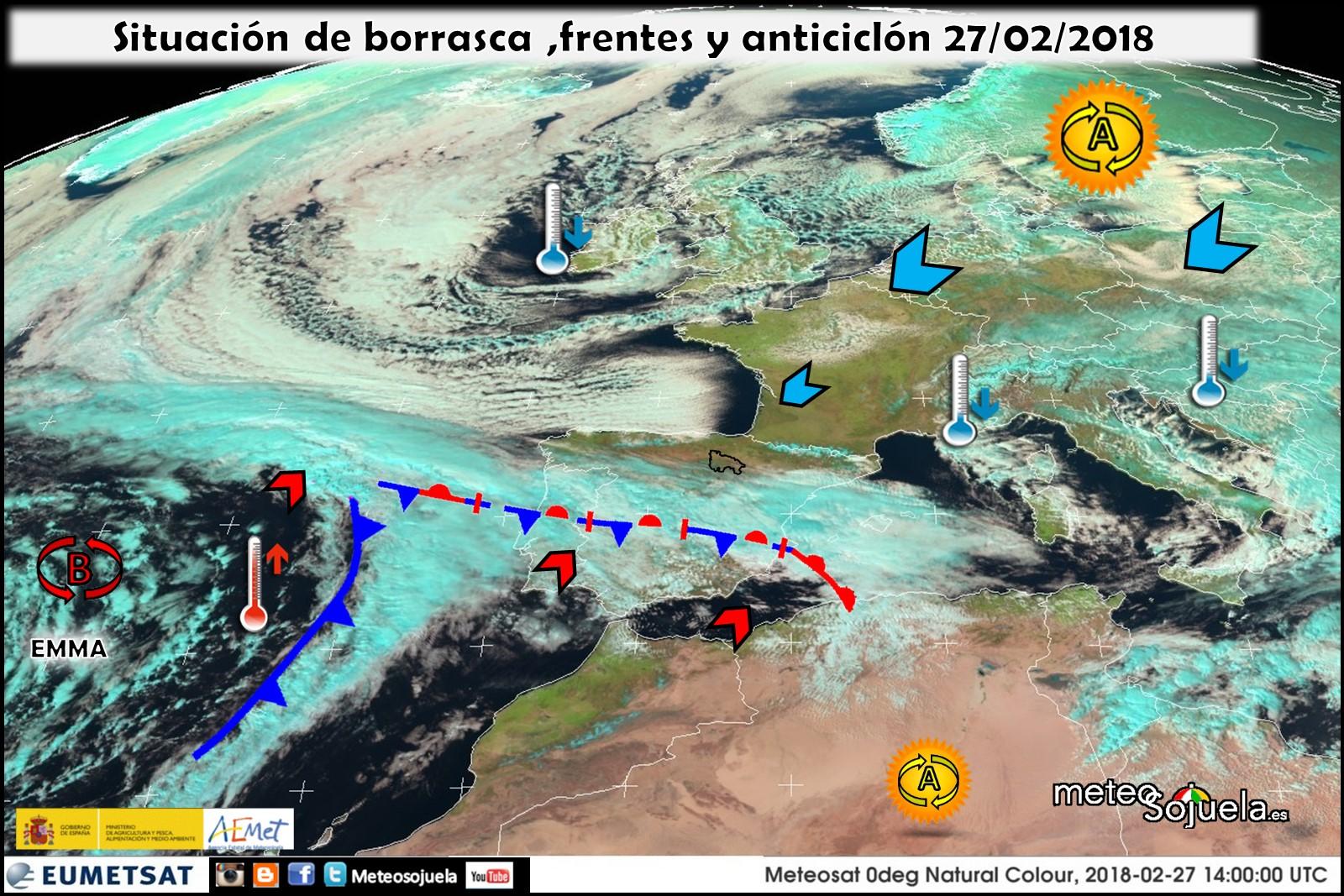 Imagen satelitales frentes. Meteosojuela