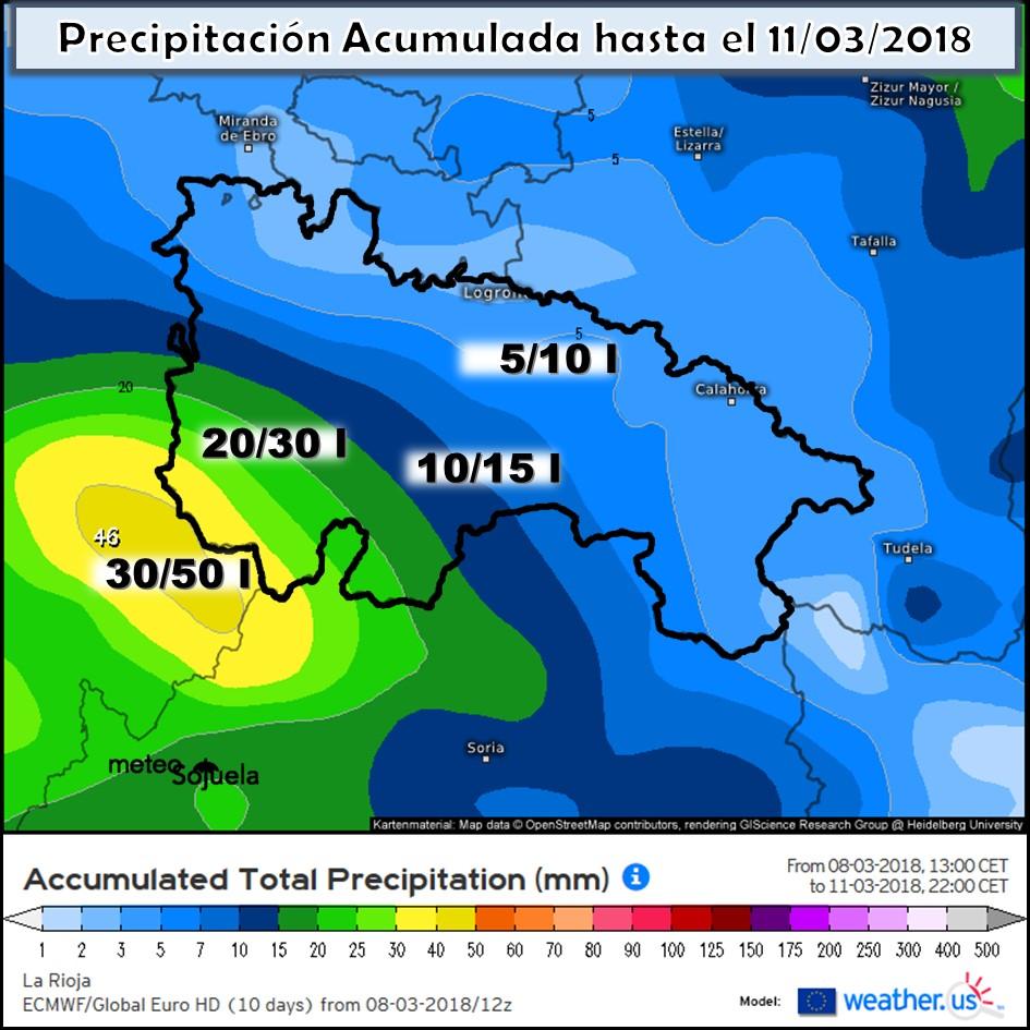 Modelo meteorologico de precipitación acumulada ECWMF.Meteosojuela