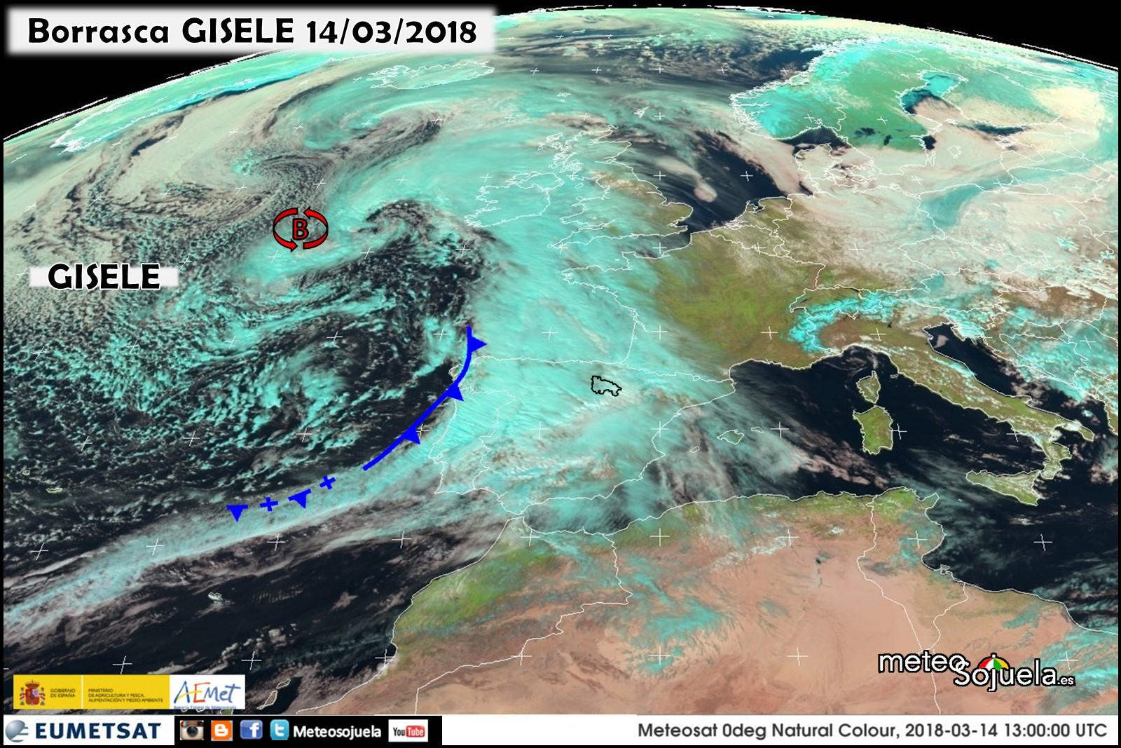 Imágen de satélite de la borrasca GISELE. Meteosojuela