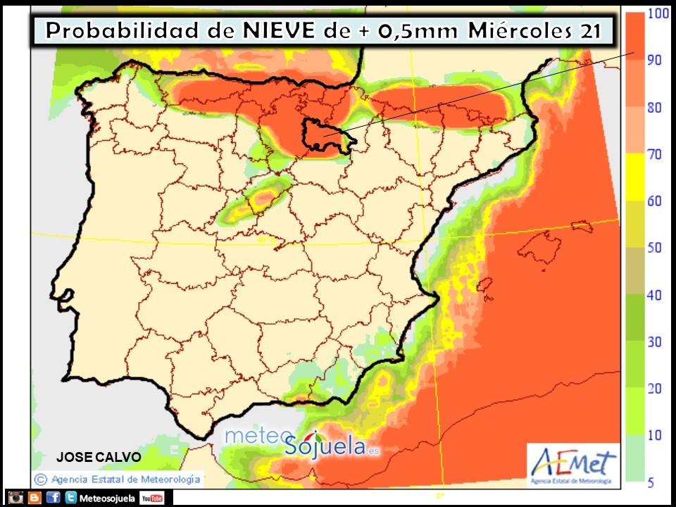 Mapa meteorologico de precipitacion en forma de nieve de hoy en La Rioja. Meteosojuela