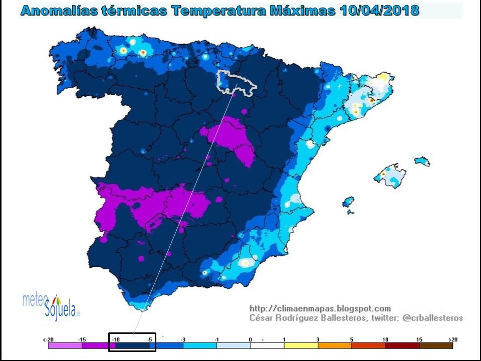 Anomalias temperaturas máximas.Meteosojuela