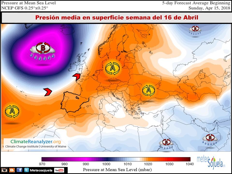 Mapa de presión media en superficie. Meteosojuela