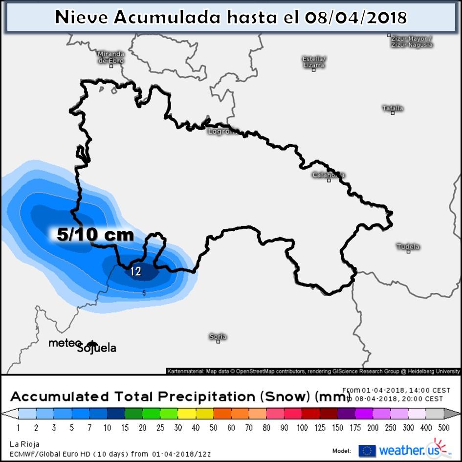Modelo de precipitacion de nieve acumulada. Meteosojuela