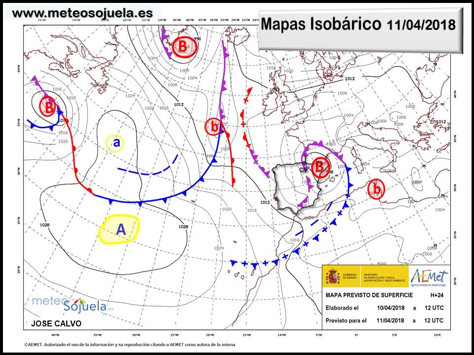 Mapa meteorologico isobárico de hoy en La Rioja. Meteosojuela