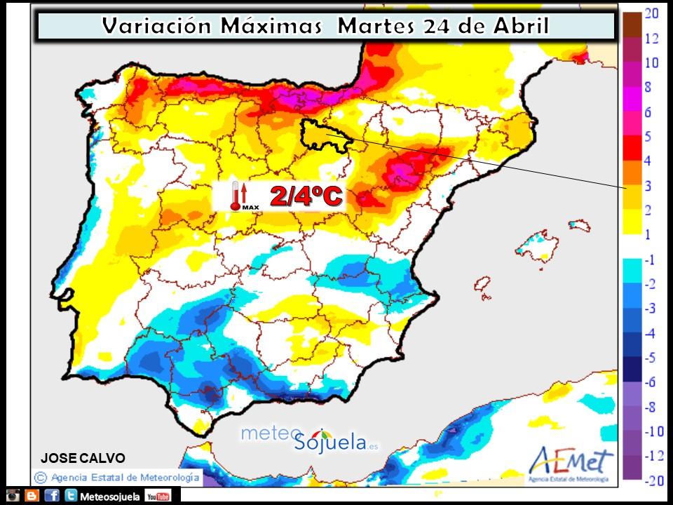 Mapa meteorologico de temperaturas de hoy en La Rioja. Meteosojuela