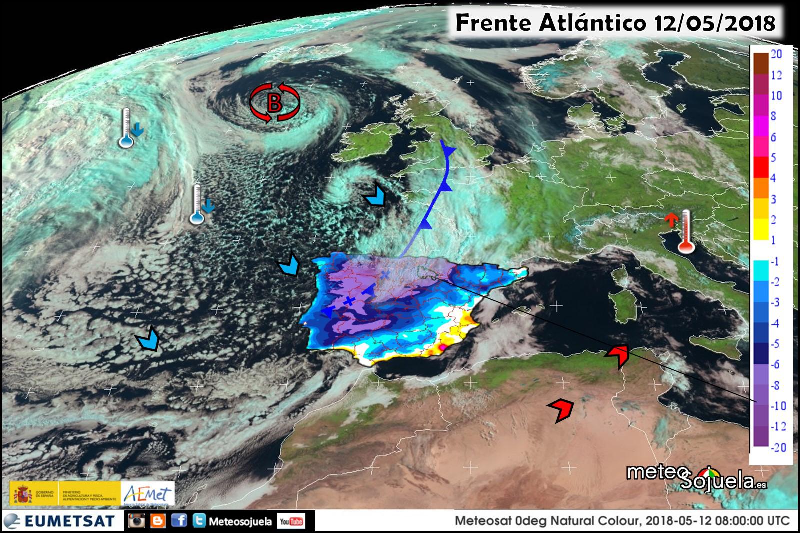 Imágen de satélite de frentes y borrascas. Meteosojuela