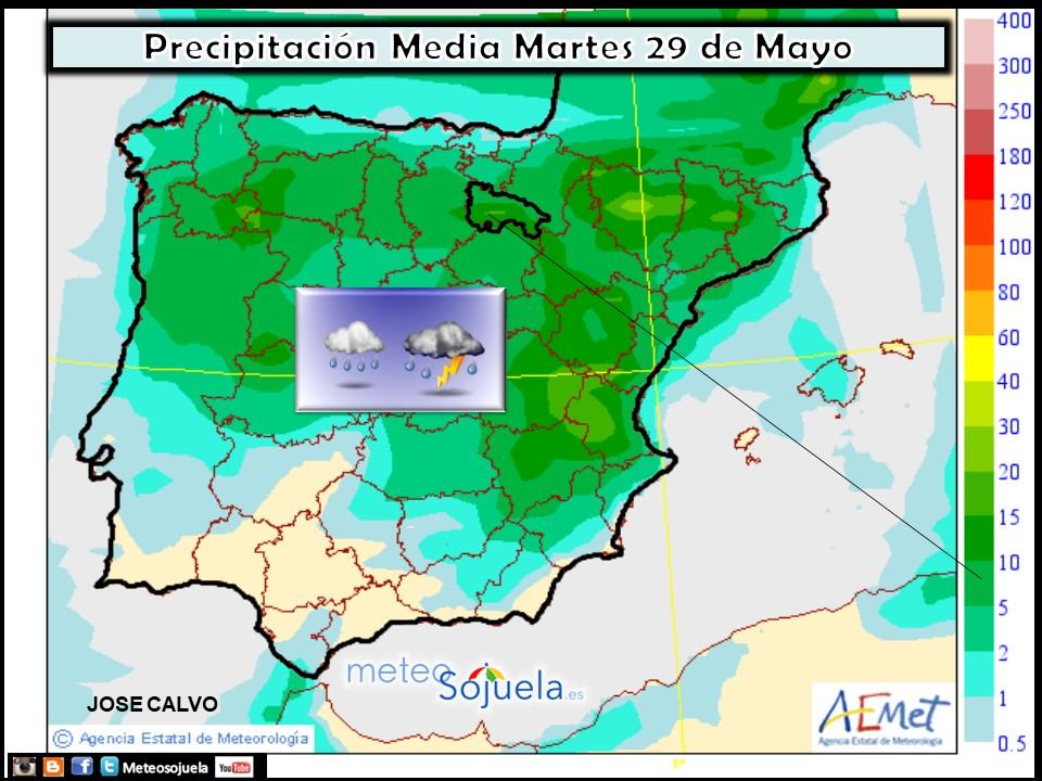 Mapa meteorologico precipitaciones de hoy en La Rioja. Meteosojuela