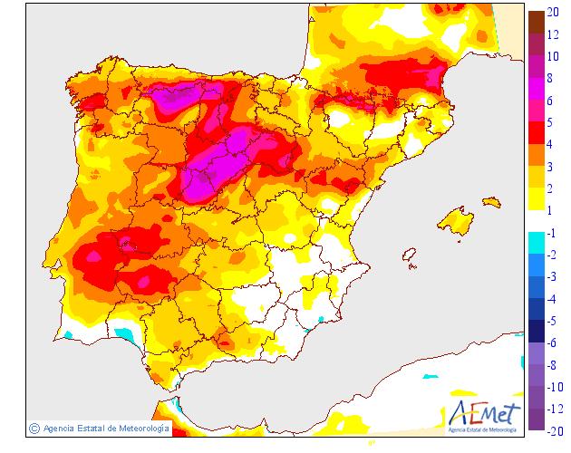 Vientos del NNW de moderados a fuertes en zonas altas y cierzo moderado en el valle