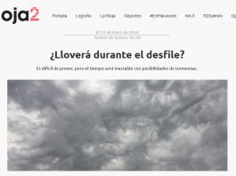 Portada de Rioja2.com. Meteosojuela