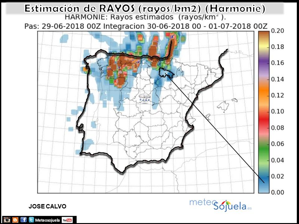 Estimación de rayos AEMET.Meteosojuela