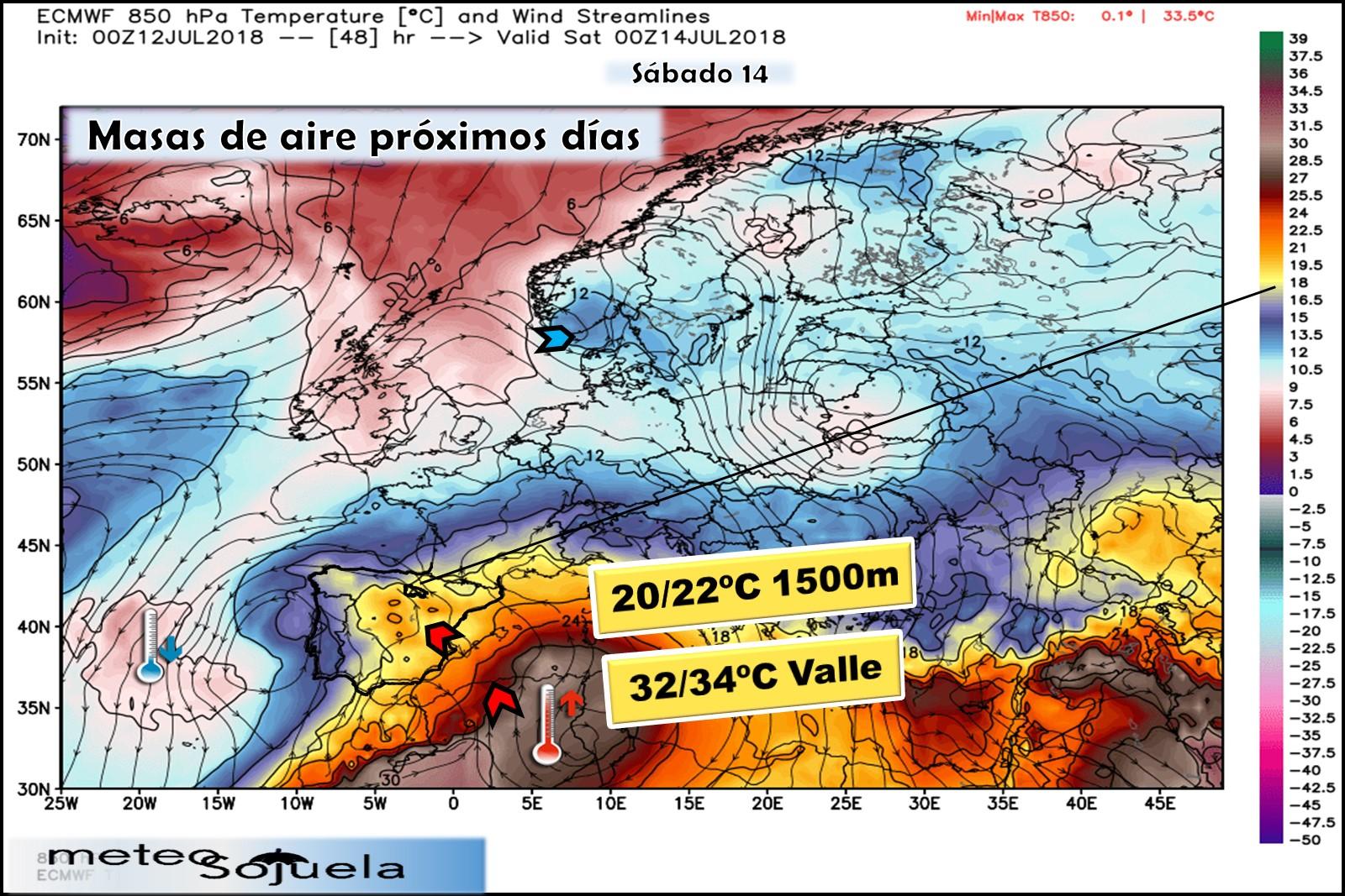 Modelos meteorológicos de masas de aire. Altura Geopotencial 850hPa. Meteosojuela