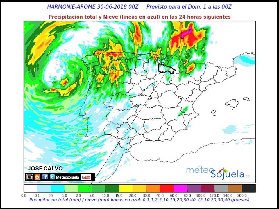 Modelo de precipitacion de HARMONIE-AROME.Meteosojuela