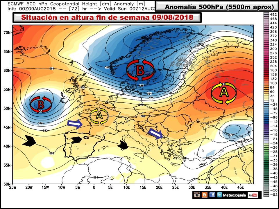 Anomalías de Geopotencial a 500hPa Europa. Meteosojuela