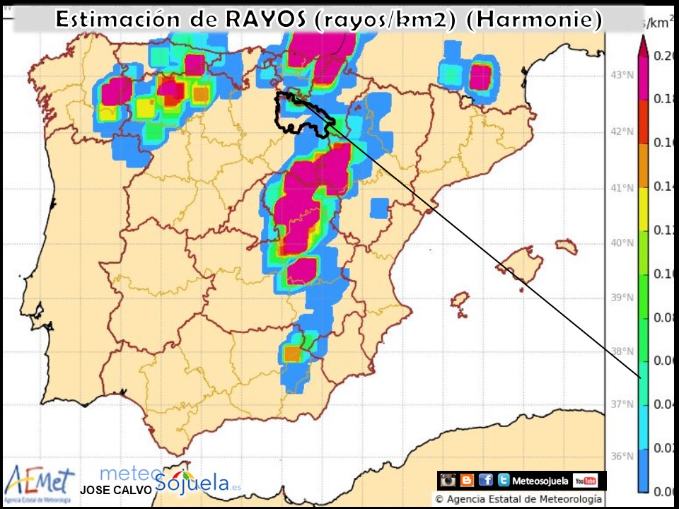 Modelo Harmonie de predicción de rayos. AEMTE.Meteosojuela