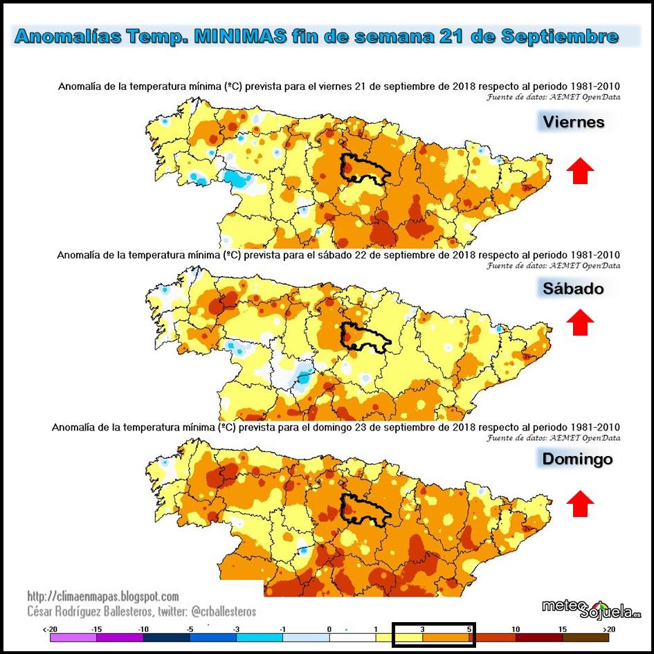 Anomalías de temperaturas mínimas.Meteosojuela