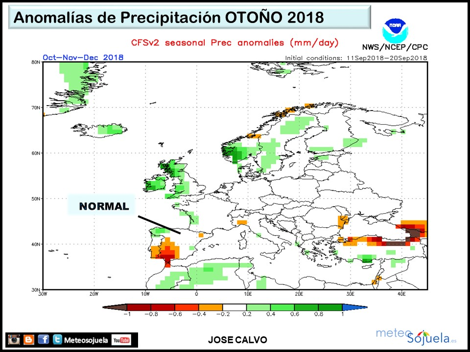Anomalías precipitaciones Otoño. Meteosojuela