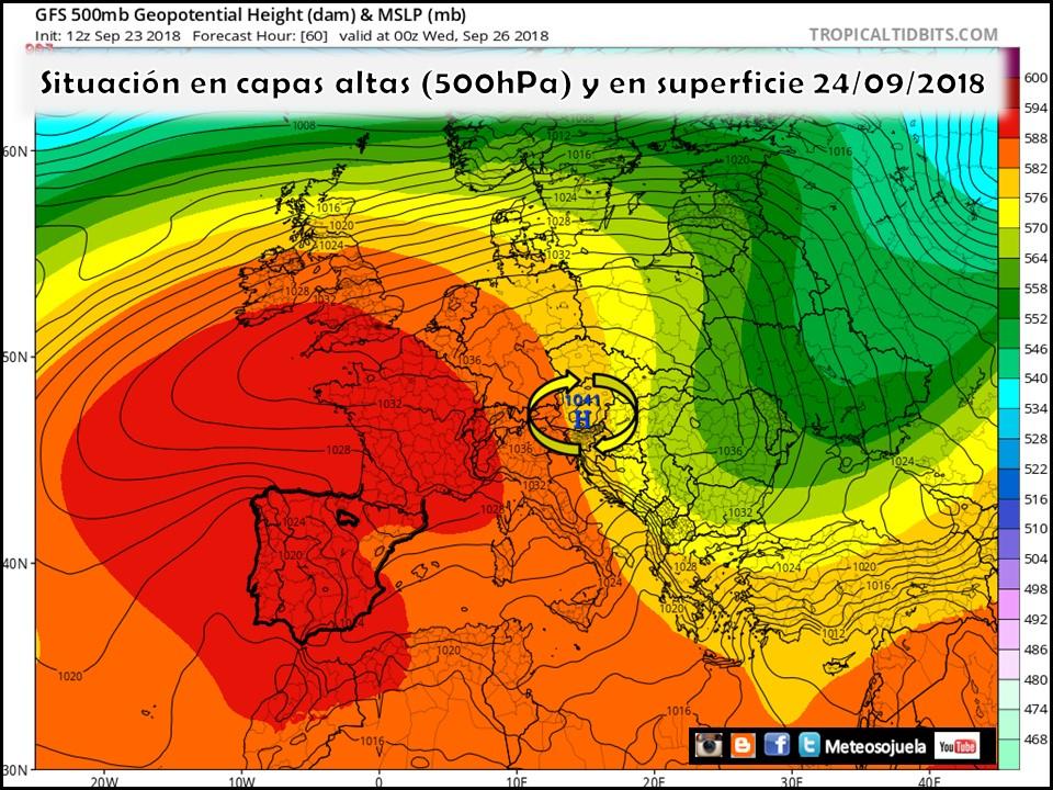 Mapa de Altura Geopotencial a 500hPa presión en superficie. Meteosojuela