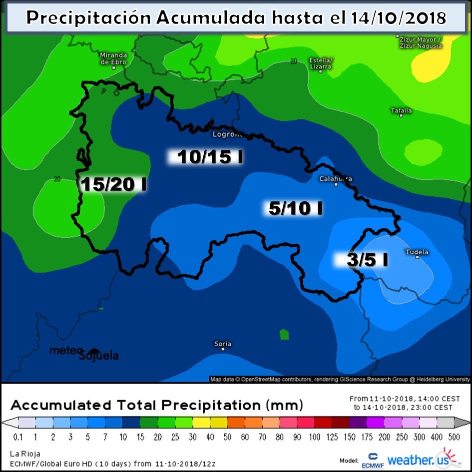 Precipitación diaria acumulada. Meteosojuela