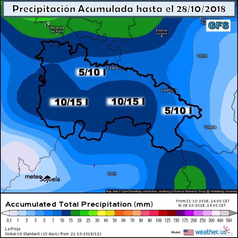 Precipitaciones Acumuladas en la semana modelo ECMWF
