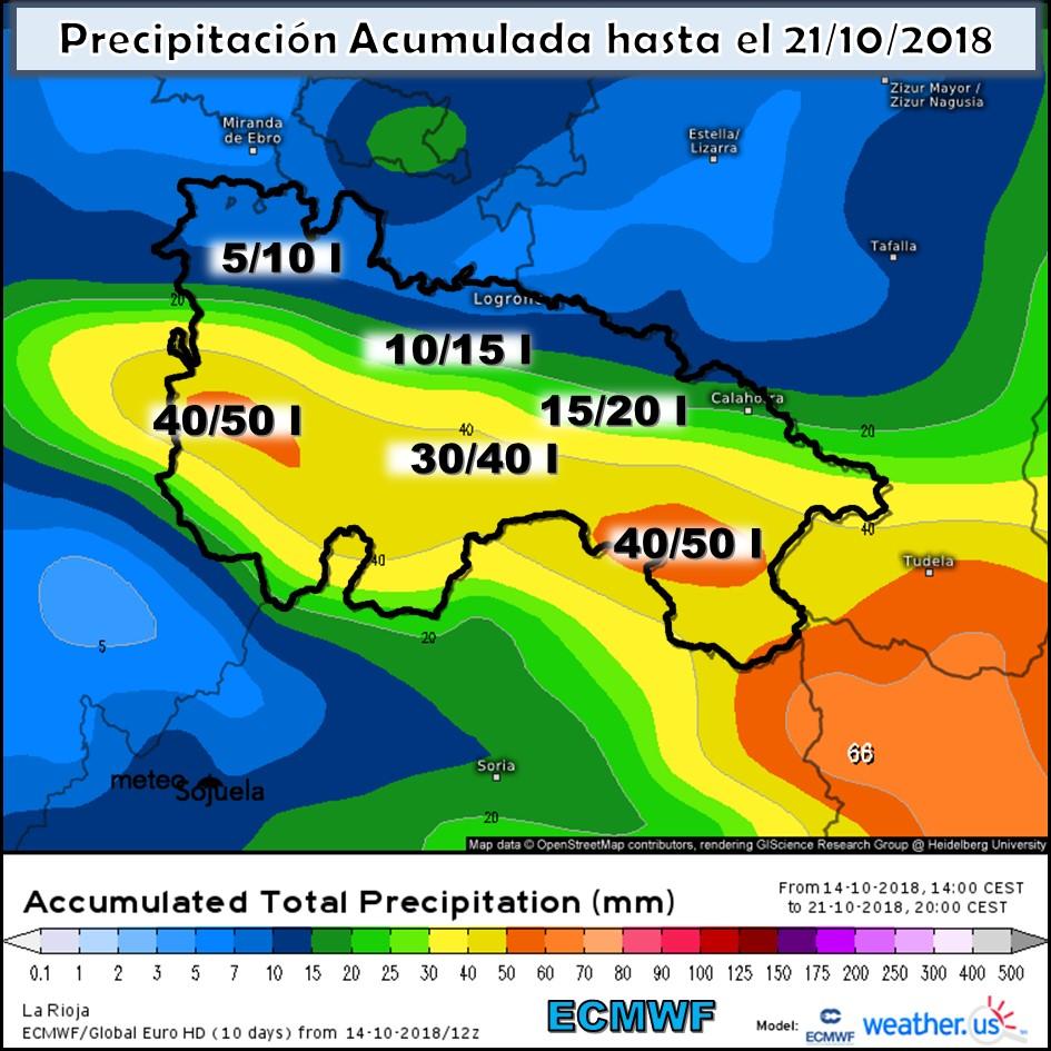 Modelo meteorologico de precipitación acumulada ECMWF. Meteosojuela