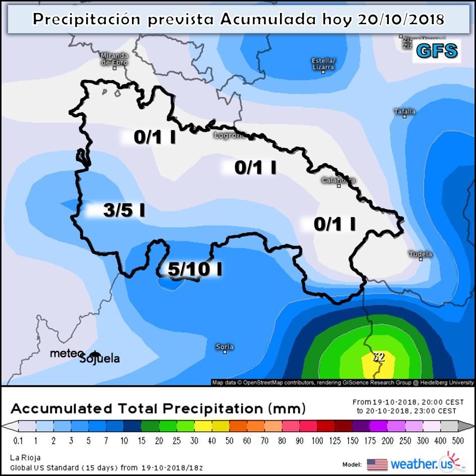 Modelos de precipitación acumulada GFS.Meteosojuela