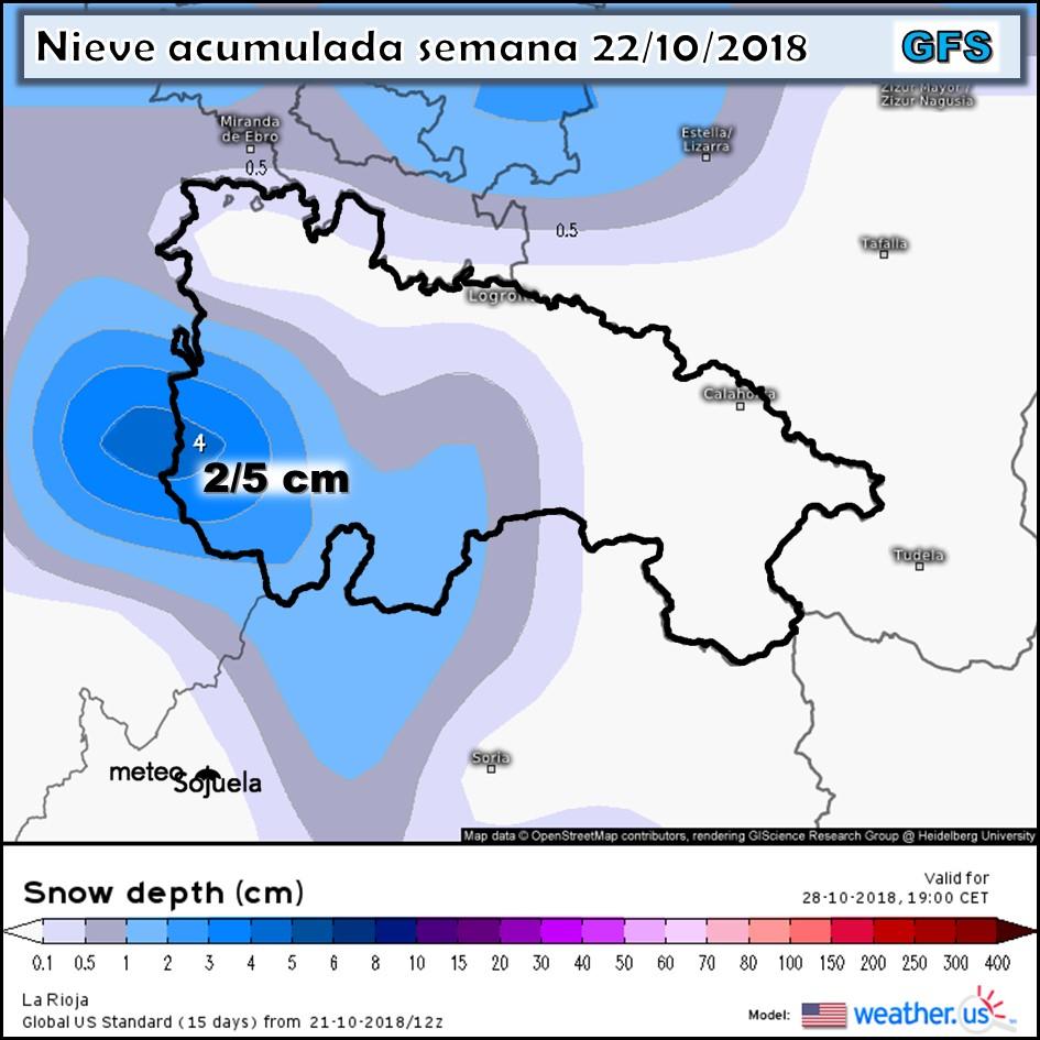Modelo meteorologico de nieve acumulada ECMWF. Meteosojuela