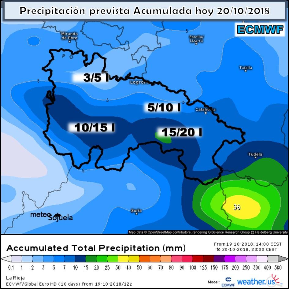 Modelos de precipitación acumulada ECMWF. Meteosojuela