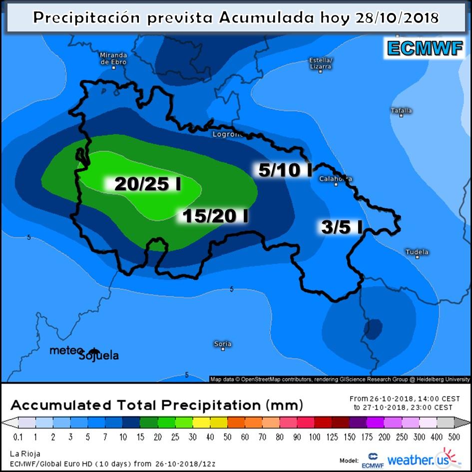 Animación de los Modelos de alta resolución de precipitaciones para el día de hoy