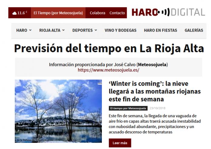 Portada periódico harodigital.com.Meteosojuela