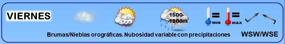 Leyenda y simbolos del tiempo en La Rioja. Viernes
