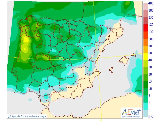 Mapa de precipitacion media AEMET. Meteosojuela 10