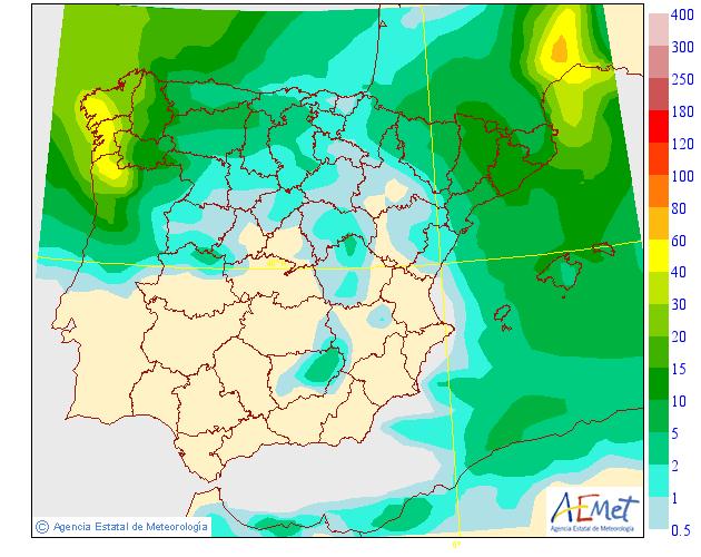 Mapa de precipitacion media AEMET. Meteosojuela
