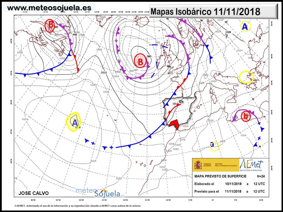 Mapa isobárico AEMET. Meteosojuela