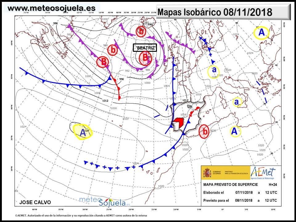 Mapa isobárico AEMET.Meteosojuela
