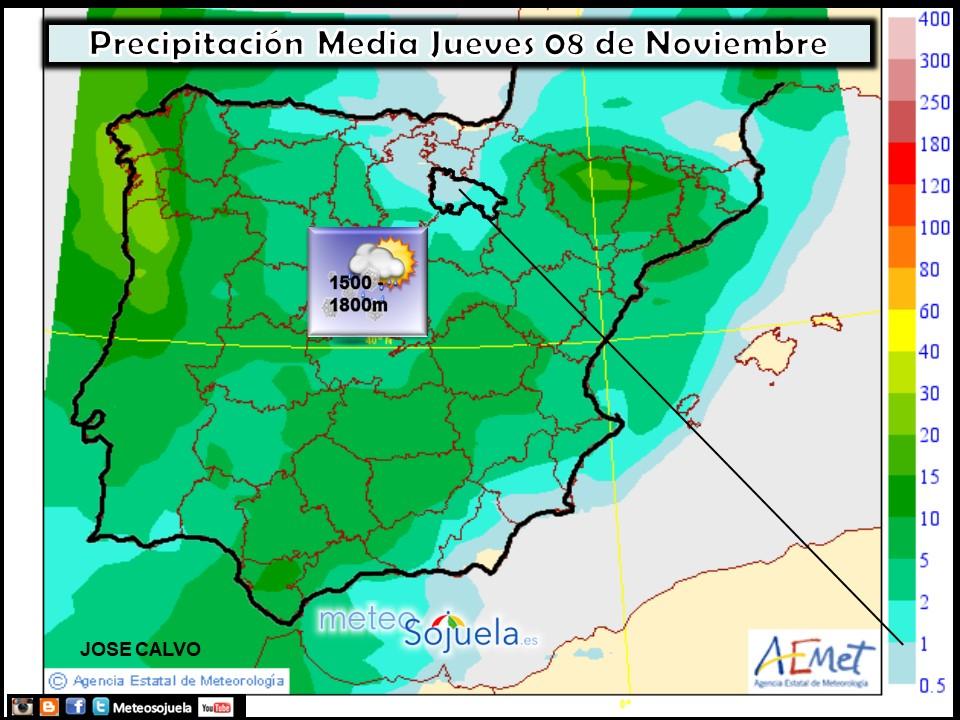 Mapas de precipitación AEMET. Meteosojuela
