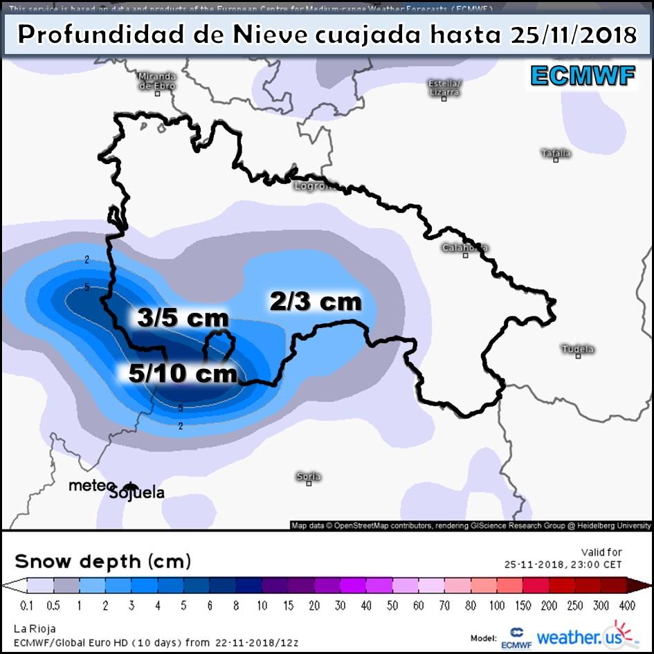 Nieve acumulada ECMWF. Meteosojuela La Rioja