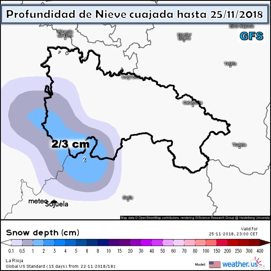 Nieve acumulada GFS. Meteosojuela La Rioja