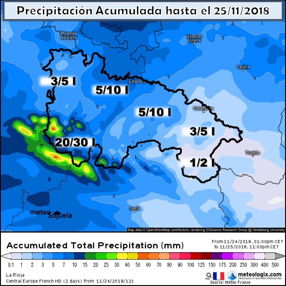 Precipitación Acumulada Meteofrance. Meteosojuela La Rioja