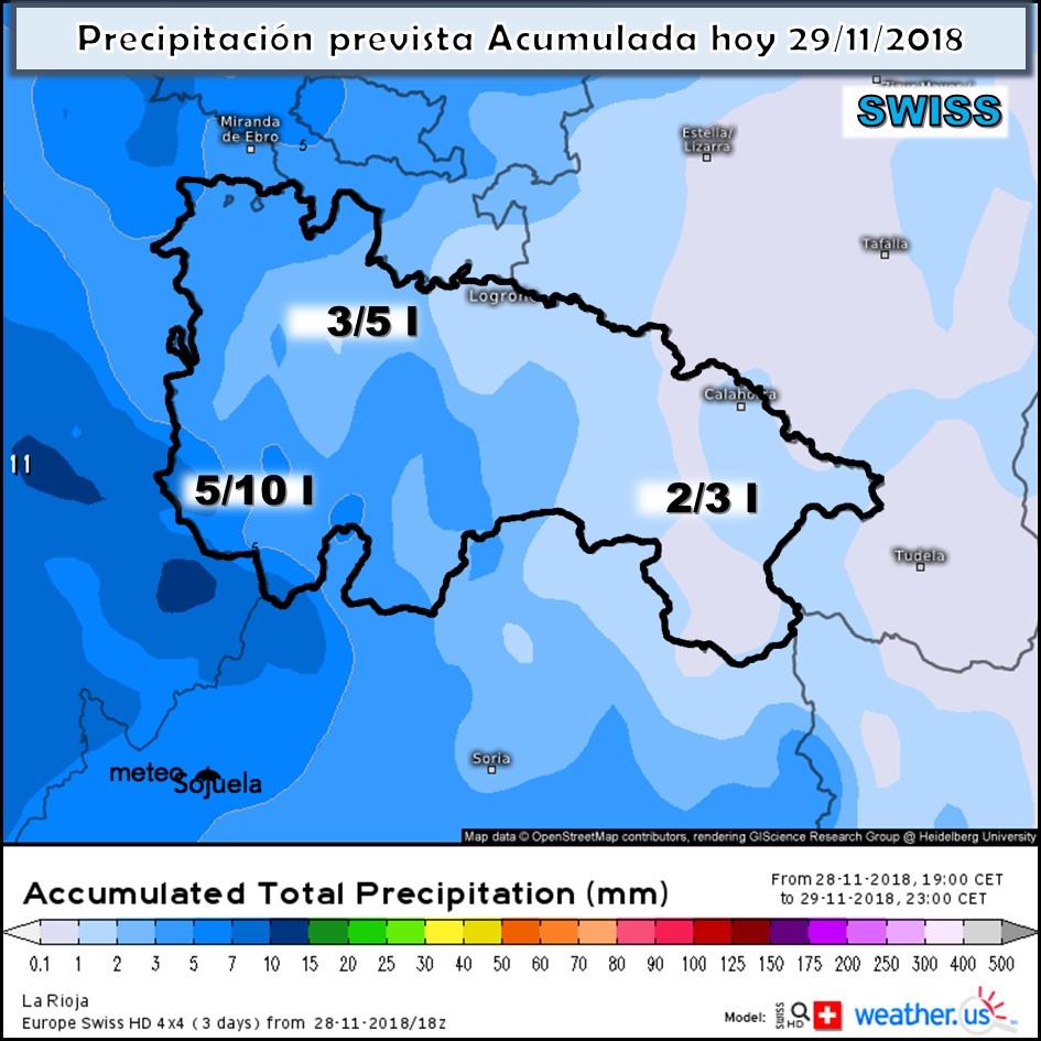 Precipitación acumulada Swiss. Meteosojuela La Rioja