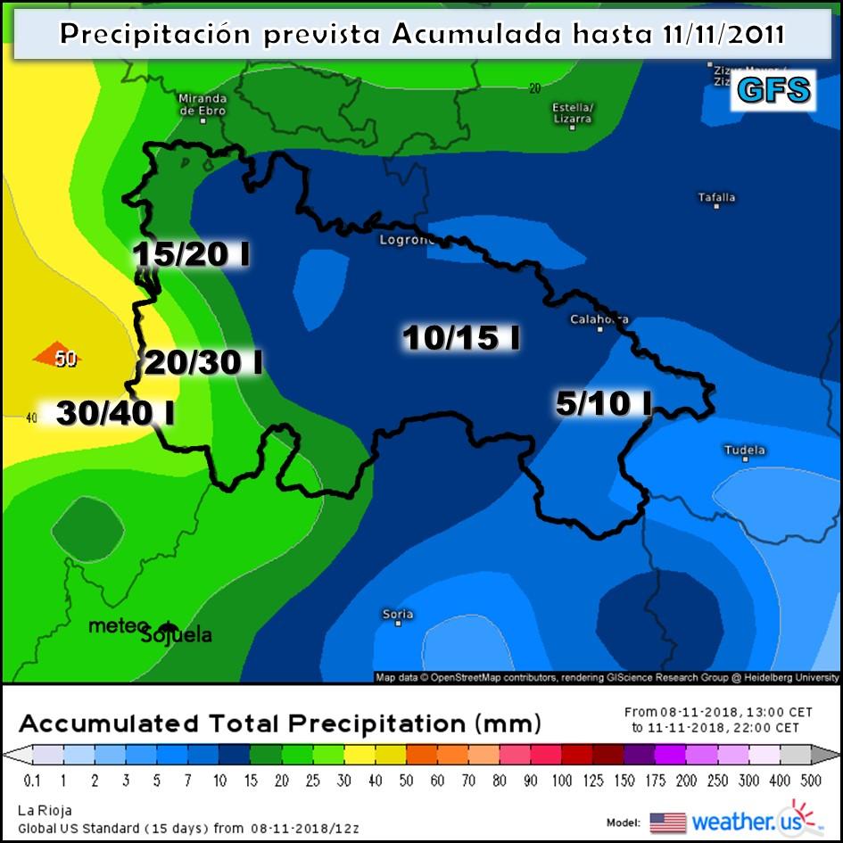 Precipitación lluvia acumulada. WetaherUs. Meteosojuela GFS