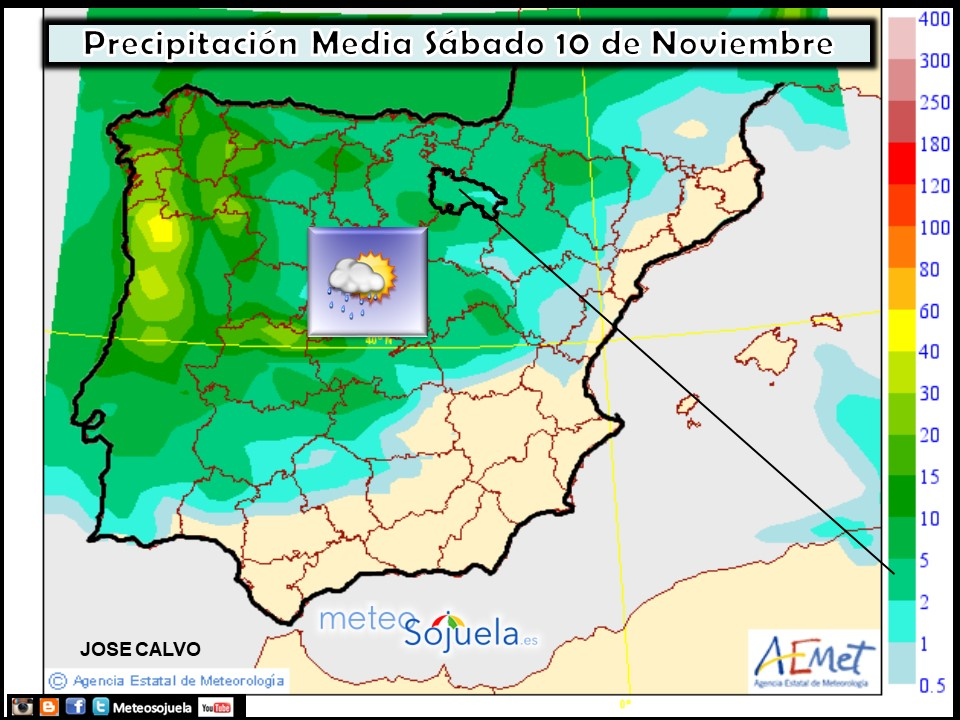 Precipitacion media AEMET. Meteosojuela