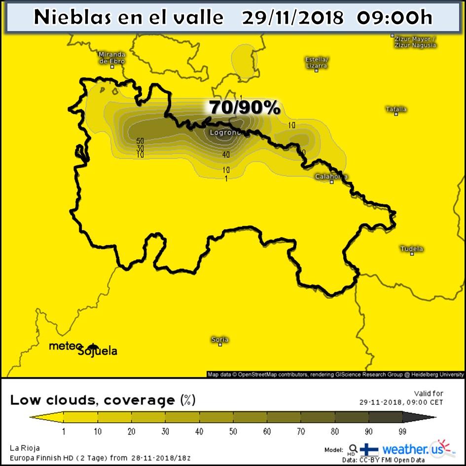 Probabilidad de nieblas. Meteosojuela La Rioja.
