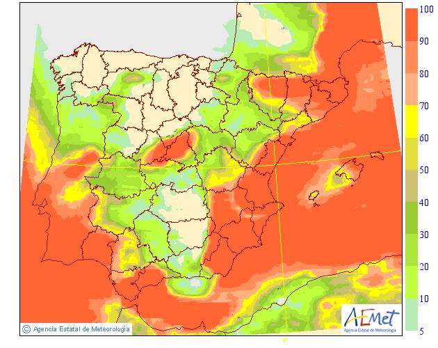 Probabilidad de precipitación AEMET. Meteosojuela La Rioja 17
